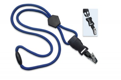 "Royal Blue 1/4"" (6 mm) Lanyard w/ Diamond Slider & DTACH Bulldog Clip (100/Pkg)"