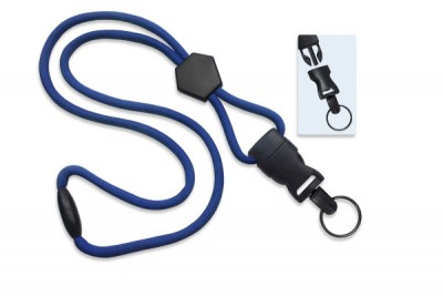 "Royal Blue 1/4"" (6 mm) Lanyard w/ Diamond Slider & DTACH Split Ring (100/Pkg)"