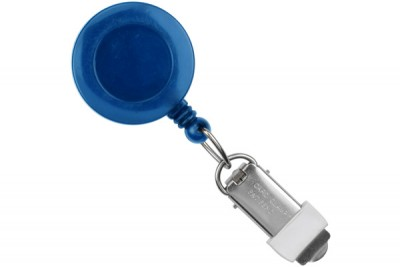 Royal Blue Round Badge Reel w/ Card Clamp & Swivel Clip (25/Pkg)
