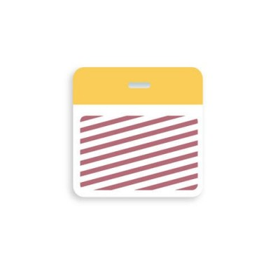 "Thermal-printable TIMEbadge Clip-on BACKpart - Half Day / One-Day Yellow ""VENDOR"" Bar W/ Slot Hole"