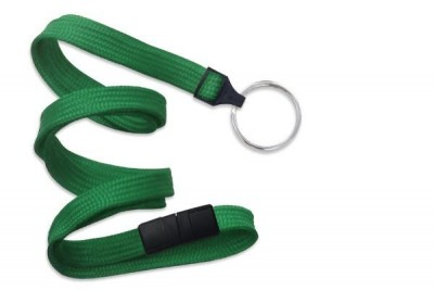 "Green 3/8"" (10 mm) Breakaway Lanyard w/ Nickel-Plated Steel Split Ring (100/Pkg)"
