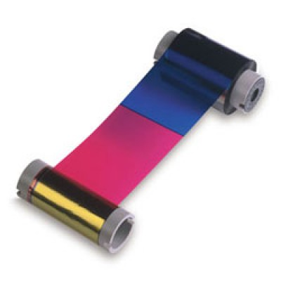 Magicard UR5 YMCKO Full Color Short Panel Ribbon with Clear Overlay and Resin Black - 350 prints/roll
